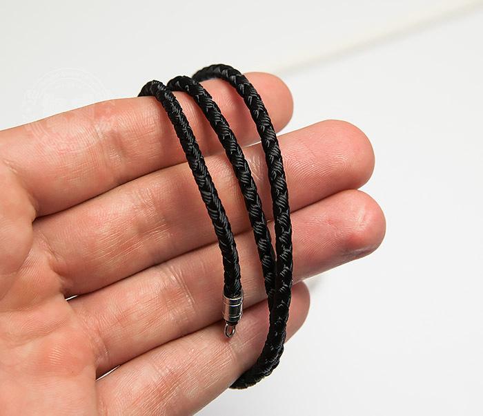 PL276-1 Плетеный шнур черного цвета из текстиля (55 см) фото 04