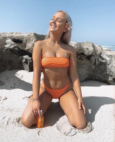 купальник раздельный оранжевый бандо бикини Dark Orange со скидкой 1