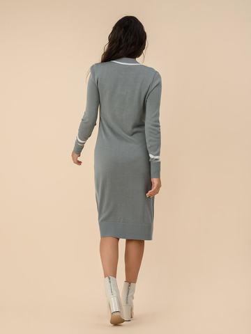 Женское платье серого цвета из шерсти - фото 2