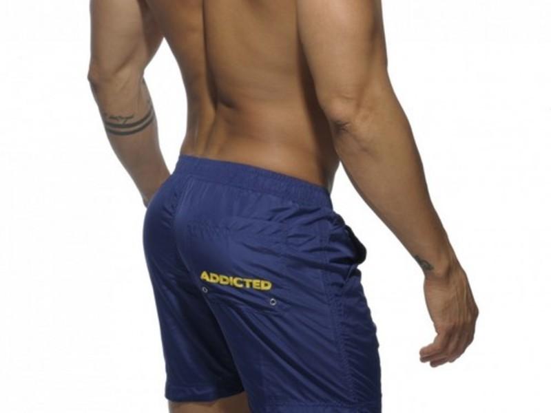 Мужские шорты удлиненные синие с желтыми шнуркамиAddicted Sport Shorts Navy