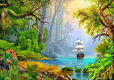 Алмазная Мозаика 50x65 Корабль подходит к берегу