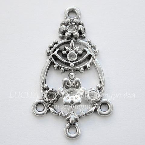 """Коннектор """"В цветах"""" (1-3) 37х21 мм (цвет - античное серебро)"""