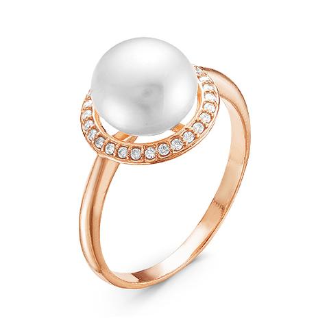 Серебряное кольцо с жемчугом и позолотой