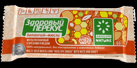 Здоровый перекус батончик мюсли с орехами и медом 55 г