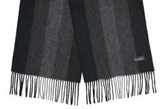 Шерстяной шарф, мужской черно-серый в полоску 31271