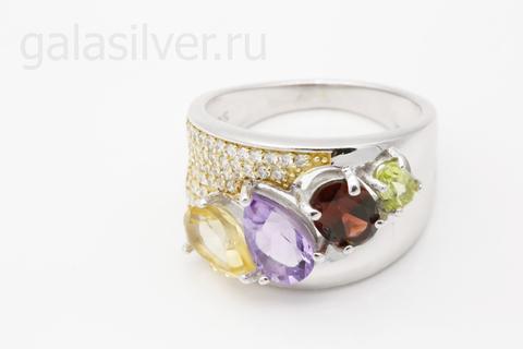 Кольцо с цитрином,аметистом,гранатом,хризолитом и фианитами из серебра 925