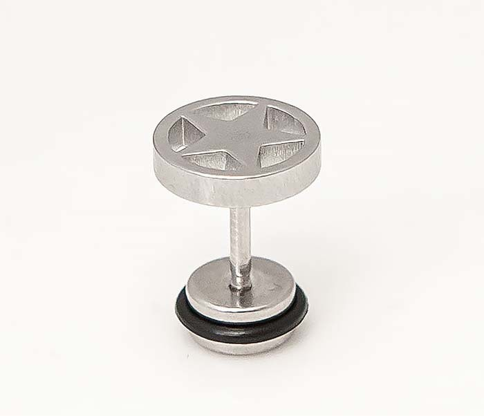 ER470-1 Мужские серьги звезды из стали (винты) фото 04