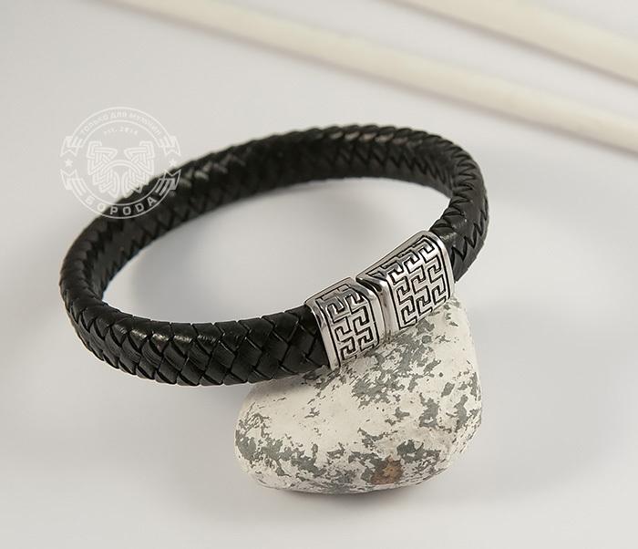Стильный мужской браслет из натуральной кожи и стали (21 см) dor flinger 00045 11 black df из натуральной кожи черного цвета
