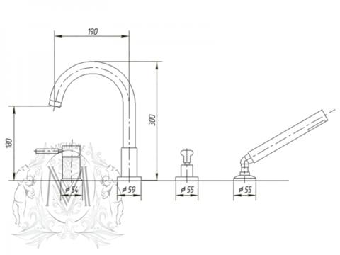 Смеситель на борт ванны  4 отв.  Migliore Fortis ML.FRT-5255