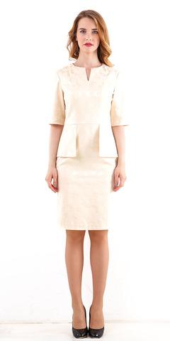 Фото светло-бежевое платье-костюм с баской и короткими рукавами - Платье З208б-324 (1)