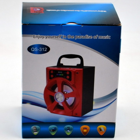 Портативная колонка QS-312, Bluetooth, MP3/FM/MicroSD/USB, встроенный аккумулятор