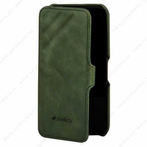 Чехол-книжка Melkco для iPhone 5sE/ 5s/ 5C/ 5 Leather Case Booka Type Craft Limited Edition Prime Dotta (Classic Vintage Green)