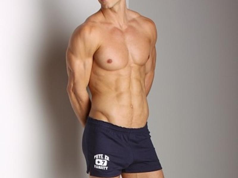 Мужские шорты  спортивные темно-синие Andrew Christian PhysEd Varsity Shorts  4569
