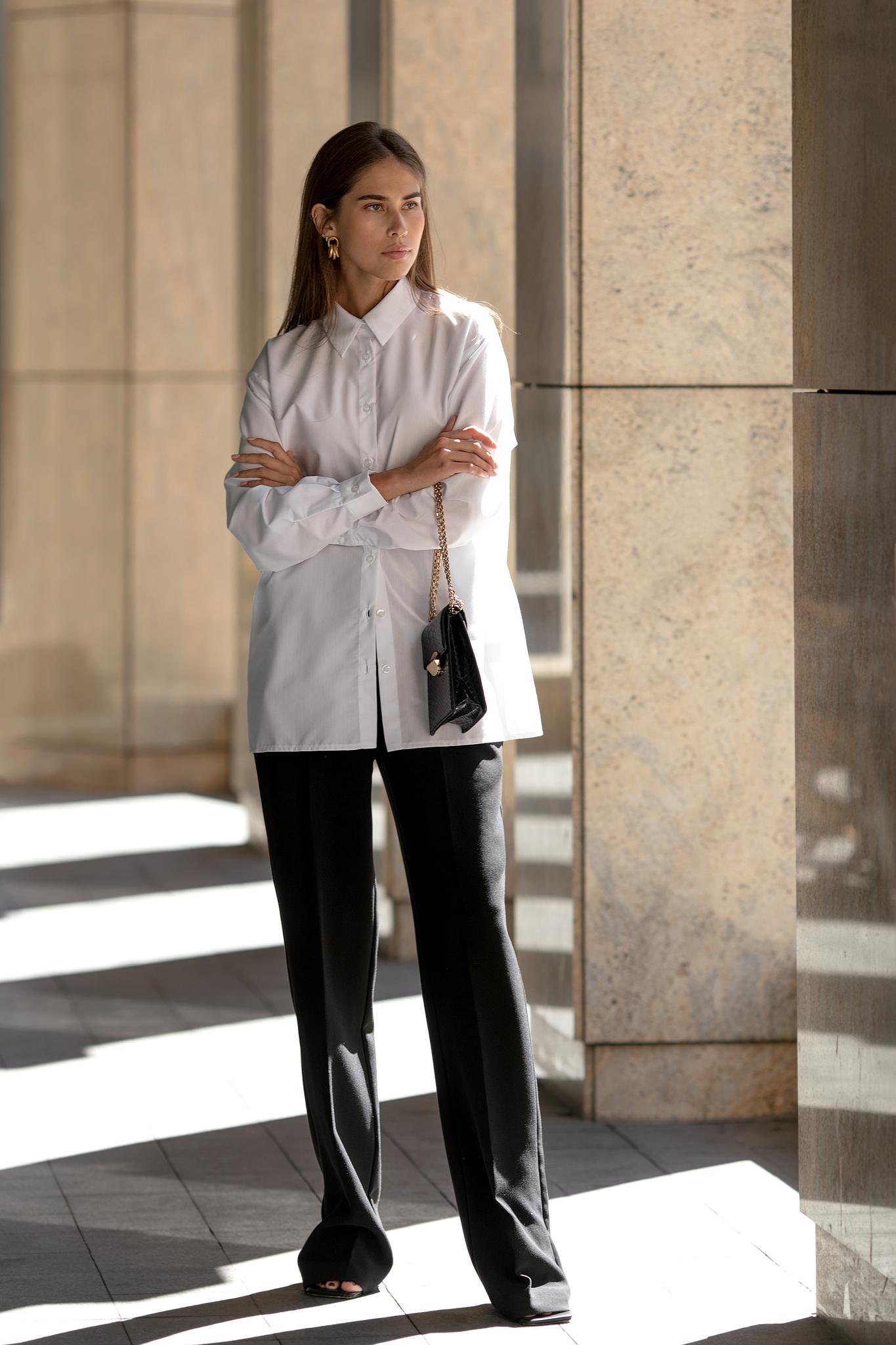 Рубашка из хлопка свободного кроя (one size) (белый)