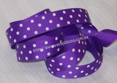 Лента репсовая Фиолетовая в горох  22 мм