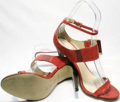 Кожаные босоножки женские на каблуке Via Uno1103-6605 Red.