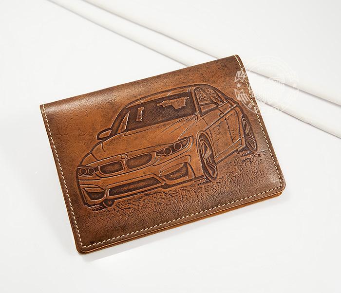 Прикольная кожаная обложка для документов водителя BMW, тиснение обложка для документов fabretti обложка для документов