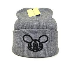 Вязаная шапка с вышивкой Микки Маус (Mickey Mouse) серая фото 1
