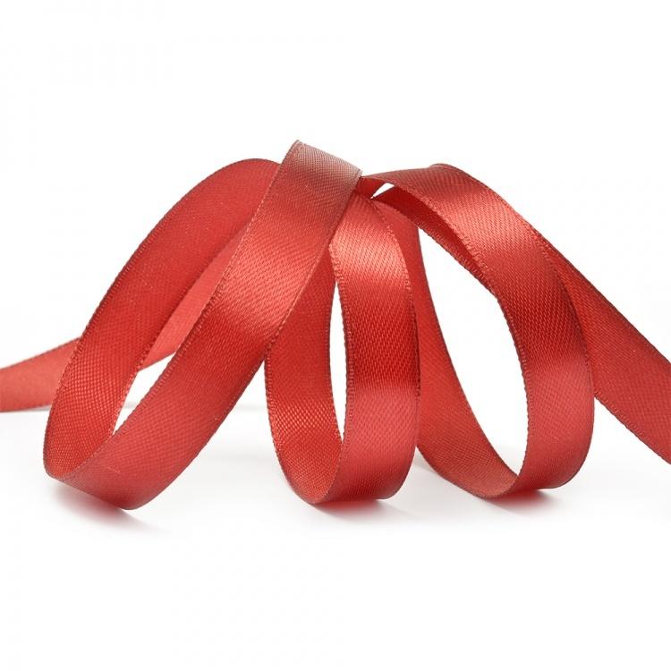 Лента атласная, цвет - красный 3н, 10мм