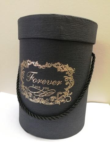 Коробка подарочная круглая, D14xH18,5см, цвет: черный