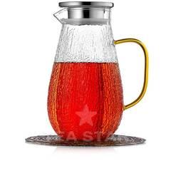 Кувшин 1,5 литра из жаростойкого рельефного стекла для горячих и холодных напитков