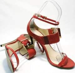 Классические босоножки на каблуке Via Uno1103-6605 Red.