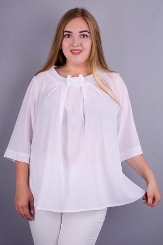 Рената. Красивая блузка плюс сайз. Белый.
