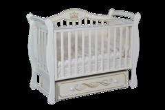 Кроватка детская  Julia 111 апликация универсальный маятник+ящик белый