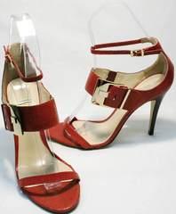 Изящные босоножки на высоком каблуке Via Uno1103-6605 Red.