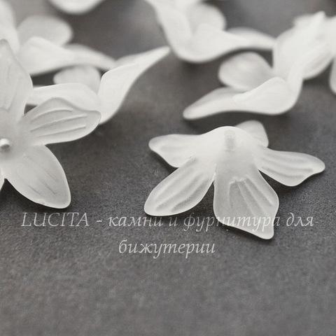 Акриловый Цветочек белый 27х7 мм