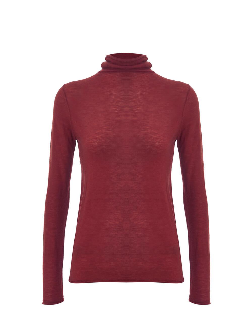 Женский свитер бордового цвета из 100% шерсти - фото 1