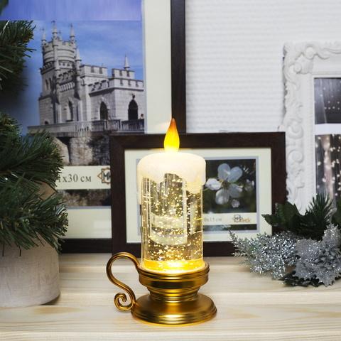 Свеча настольная Фигура световая с моргающим пламенем и блёстками (цвет подставки: золотистый 15х7х7 см)
