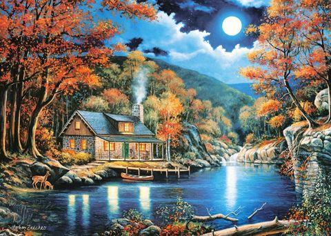 Алмазная Мозаика 50x65 Дом у озера ночью
