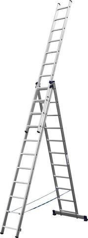 Лестница СИБИН универсальная, трехсекционная со стабилизатором, 11 ступеней