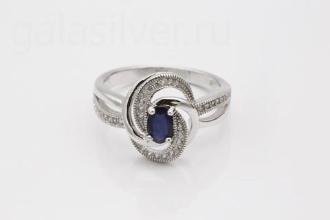 Кольцо с сапфиром  и фианитом из серебра 925
