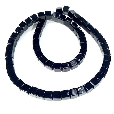 Бусины оникс черный Куб 6 мм 1 бусина