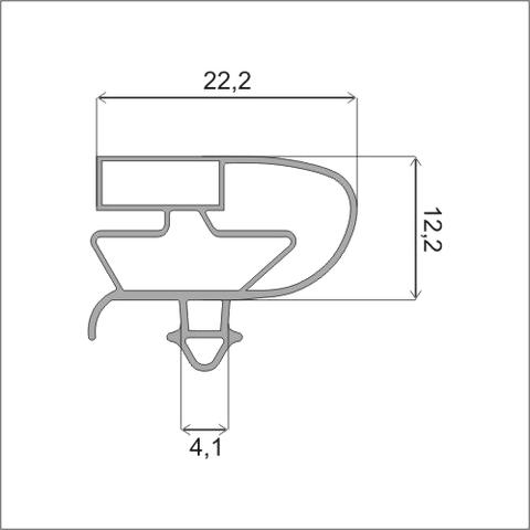 Уплотнитель для холодильного шкафа Ариада  размер 157*76,5 (стеклянная дверь) профиль 006