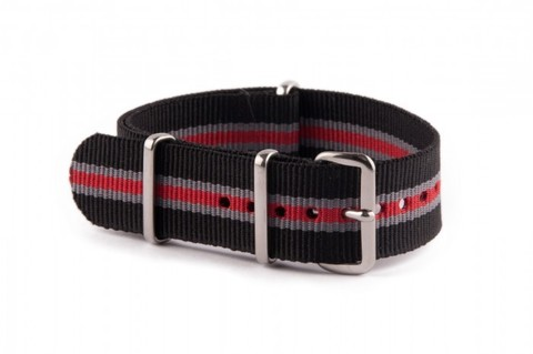 Nato Strap Black Grey Red