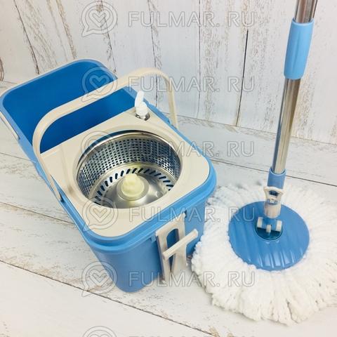 Складное ведро с отжимом на колёсах Spin Mop Голубое (комплект для мытья пола на колёсах)