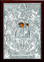 Серебряная кона Божией Матери Неопалимая Купина 21х15см