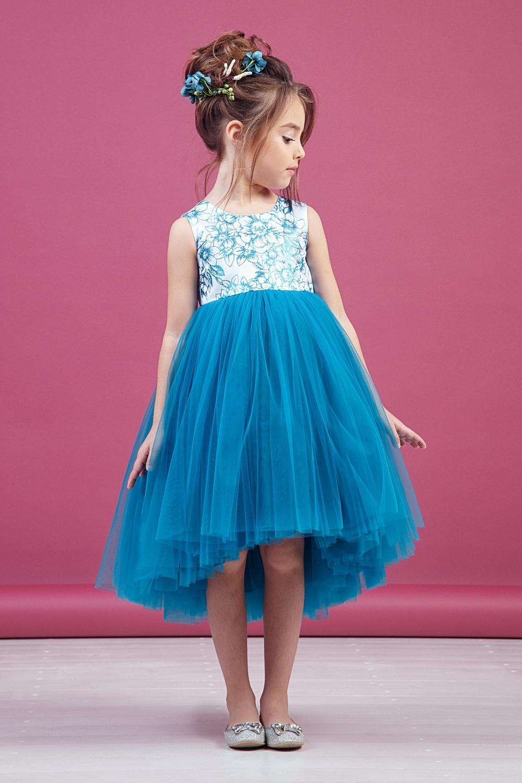 Платье бирюзовое для девочки 38-9010-2