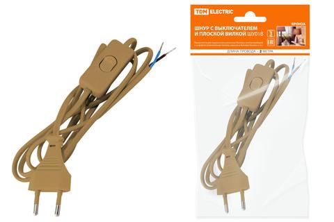 Шнур с выключателем и плоской вилкой ШУ01В ШВВП 2х0,75мм2 2м. бронза TDM