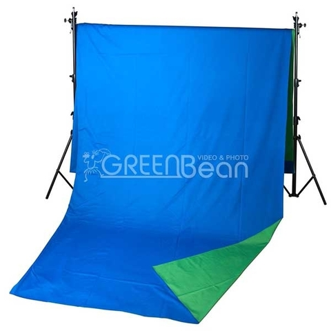 Фон двусторонний тканевый GreenBean Field 240x500cm (зеленый/синий)