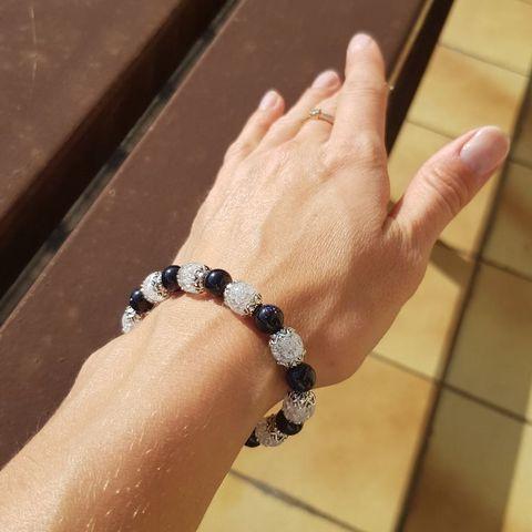 Браслет из натуральных камней: Сахарный кварц и Синий авантюрин Вариант 2