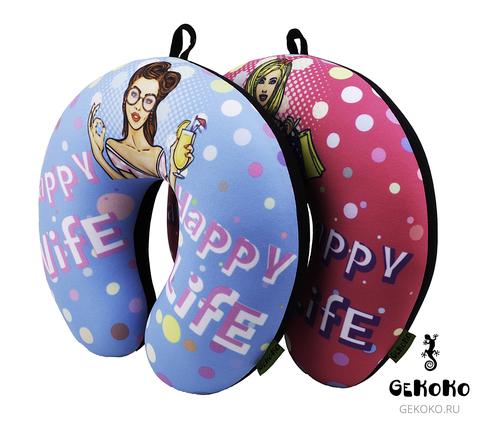 Подушка-подголовник «Happy Wife», розовая 3