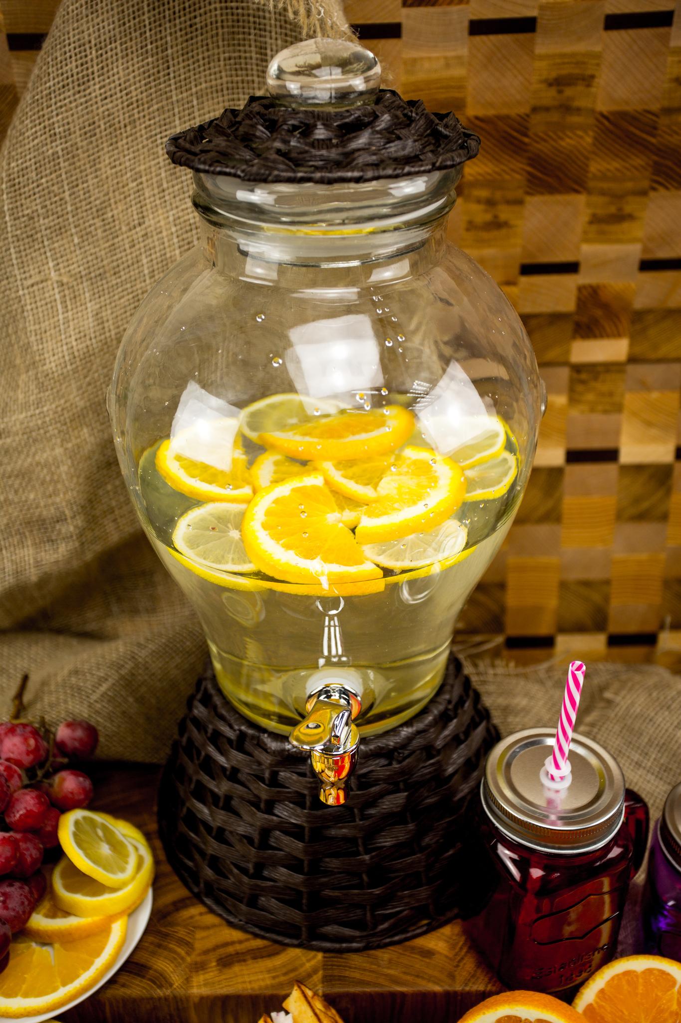 Стеклянный диспенсер для напитков «Вулкан», 5 литров диспенсер стеклянный с крышкой 28х22х32 см