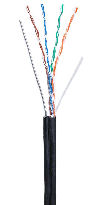 Кабель NETLAN U/UTP 4 пары, Кат 5e (Класс D), 100МГц, одножильный, BC (чистая медь), внешний, PE до -40C, с одножильным тросом, черный, 305м, купить оптом по низкой цене