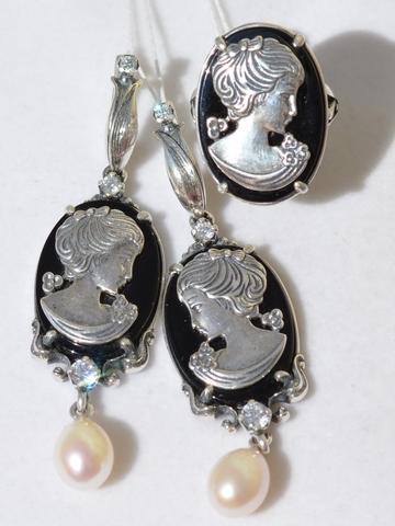 Камея Б. (кольцо + серьги из серебра)