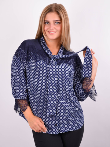 Галина. Стильная блуза для больших размеров. Синий.