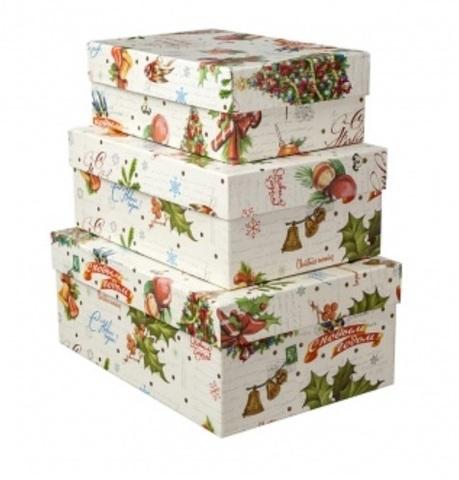 Набор коробок подарочных прямоугольных Новогодняя Ель из 3шт, размер: 23х16х9,5 см